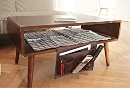 Flammi Bedside Caddy Dorm Room 4-Pocket Organizer Table Cabinet Storage Unit Bag (Coffee)