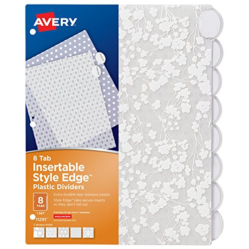 Avery Binder Index Dividers Style Edge Insertable Plastic