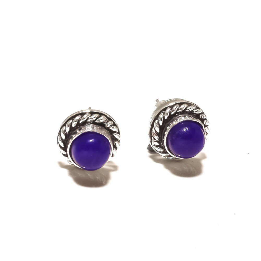 Blue Dyed Sapphire Sterling Silver Overlay 4 Grams Stud//Earring 10 mm Art Jewelry
