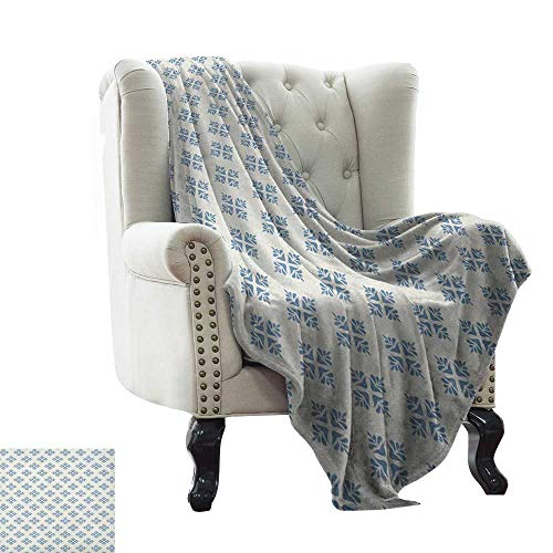 Children's Blanket Geometric,Abstract Leaves Design Symmetrical Foliage Scene Nature Vintage Inspiration, Slate Blue Cream Lightweight Microfiber,All Season for Couch or Bed -