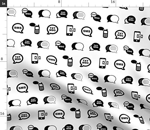 Cell Phone Fabric - Fun Mobile Text Sms Messaging Black And White Texting Message Modern Technology Print on Fabric by the Yard - Basketweave Cotton Canvas for Upholstery Home Decor Bottomweight