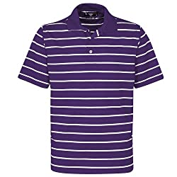 Oxford Men's Feed Stripe Polo, Large, Grape/White