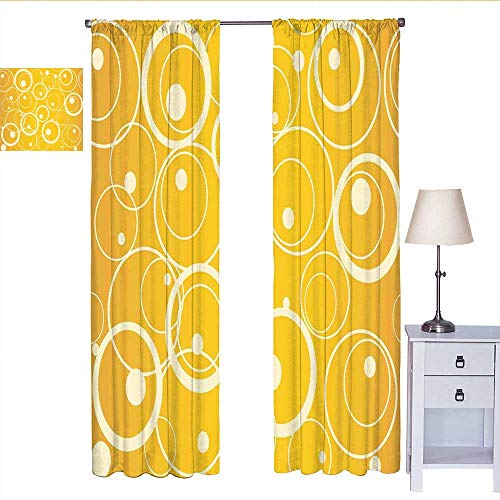 RenteriaDecor Vintage Yellow Black Out Window Curtain Circles and Dots Monotone Geometric Shapes with Yellow Background Curtain Valance Yellow Pale Yellow W72 x L84 (Valance Circle Dot)
