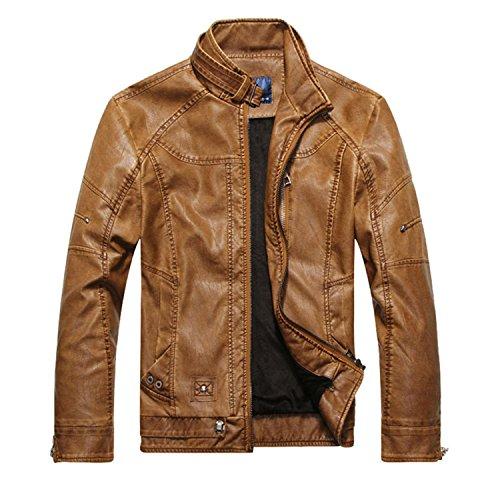 Vazpue Suits Men Motorcycle Biker leather jacket mens jaqueta de couro masculina leather jacket Windbreak coats Plus Size 3XL Picture colorM