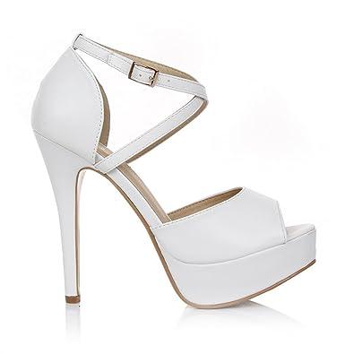 Stiletto Toe Sc 3 Strappy Size Uk Peep Sandals Platform Shoes 8 6 7 5 Heel Womens 4 High jL4RA5