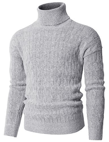 H2H Men's Solid Color Turtleneck Knit Pullover Sweater Gray US M/Asia M (KMOSWL0235)