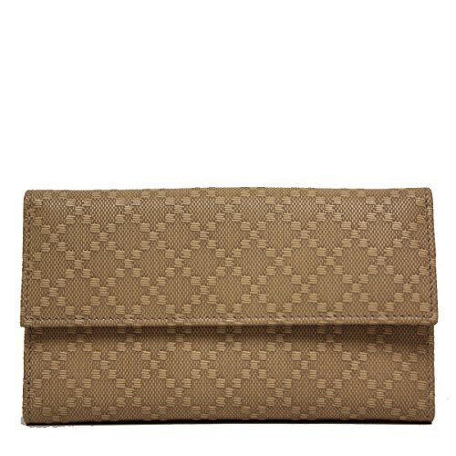 Gucci Diamante Leather Flap Wallet 143389, Tan - Wallet Gucci Flap