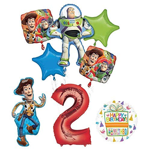 - Mayflower Products Toy Story Party Supplies Woody, Buzz Lightyear and Friends 2nd Birthday Balloon Bouquet Decorations