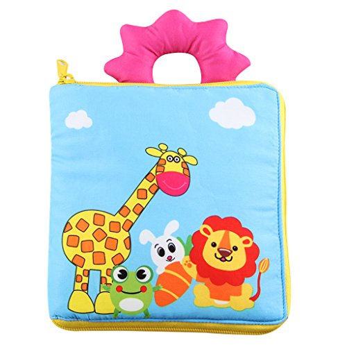 Kakiblin Quiet Book for Toddler Portable Baby Soft Cloth Activity Book Non-Toxic Early Learning Basic Life Skill Toy- Zip, Button, Buckle, Snap, Tie, Tell Time