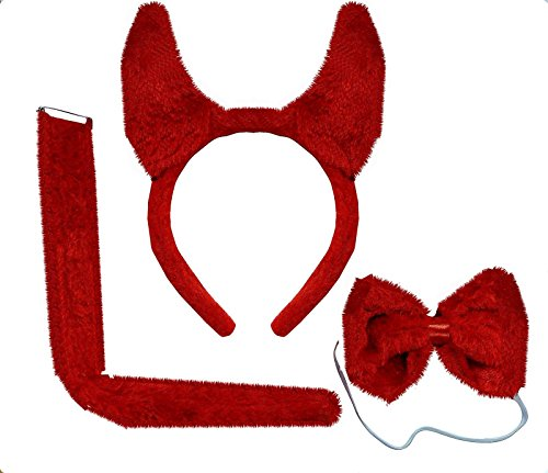 Fun Red Soft Furry Devil Horns Bow Tie Tail Halloween Evil Fancy Dress Up (Dickie Bow)