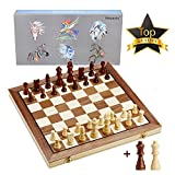 15 Inches Wooden Chess Set-2 Extra Queens-Handmade Portable Travel Chess Board Game Sets Checkers Game Board-Large Folding Chess and Checkers Set-Interior Storage for Pieces