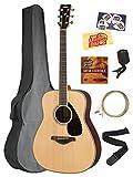 Yamaha FG830 Solid Top Folk Acoustic Guitar - Natural Bundle with Gig Bag, Tuner, Strings, Strap, Picks, Instructional DVD, Polishing Cloth
