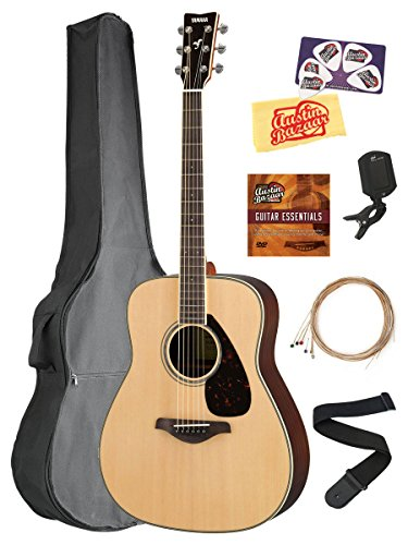 Yamaha FG830 Solid Top Folk Acoustic Guitar - Natural Bundle with Gig Bag, Tuner, Strings, Strap, Picks, Austin Bazaar Instructional DVD, and Polishing Cloth