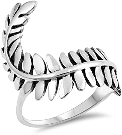 Princess Kylie Oxidized Sterling Silver Leaves Band Ring