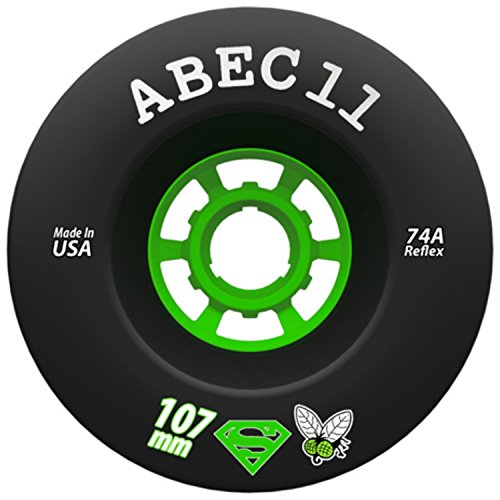 ABEC 11 Flywheel, Refly, Superfly Longboard Wheel for Electric Skateboard, Downhill and Cruising Durometers (107mm | 74a - Superfly (Black))