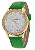 Pretty Women Crystal Dial Charm Wrist Watch Leather Style Band Quartz Bracelet Watch Green