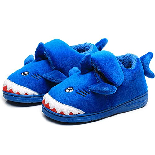 Toddler Baby Boys Adjustable House Slipper Cute Shark Cartoon Soft Anti-Slip Winter(Toddler/Little Kid/Big Kid) Blue