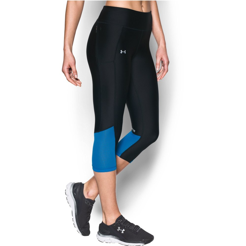 Under Armour Women's Fly-By Capri,Black (003)/Reflective, X-Small