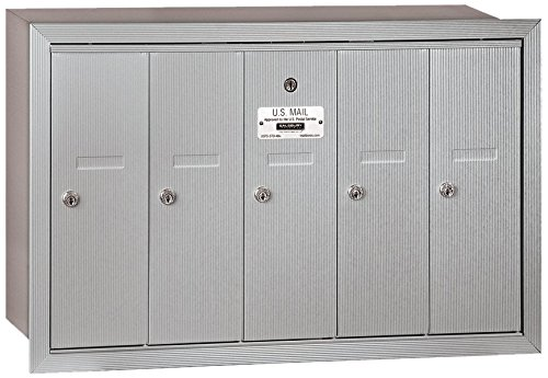 Salsbury Industries 3505ARP Recessed Mounted Vertical Mailbox with Master Commercial Lock, Private Access and 5 Doors, Aluminum