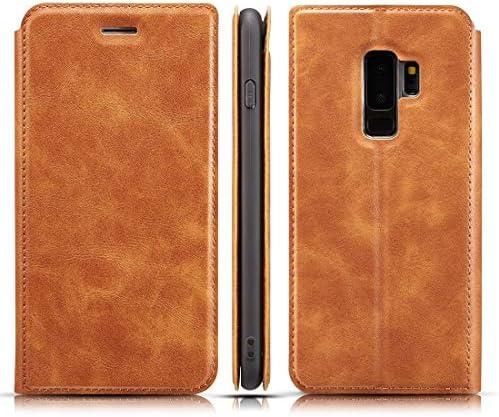 あなたの携帯電話を保護する Galaxy S9 Plus用レトロシンプルな超薄型磁気水平フリップレザーケース、ホルダー&カードスロット&ストラップ付き (色 : 褐色)