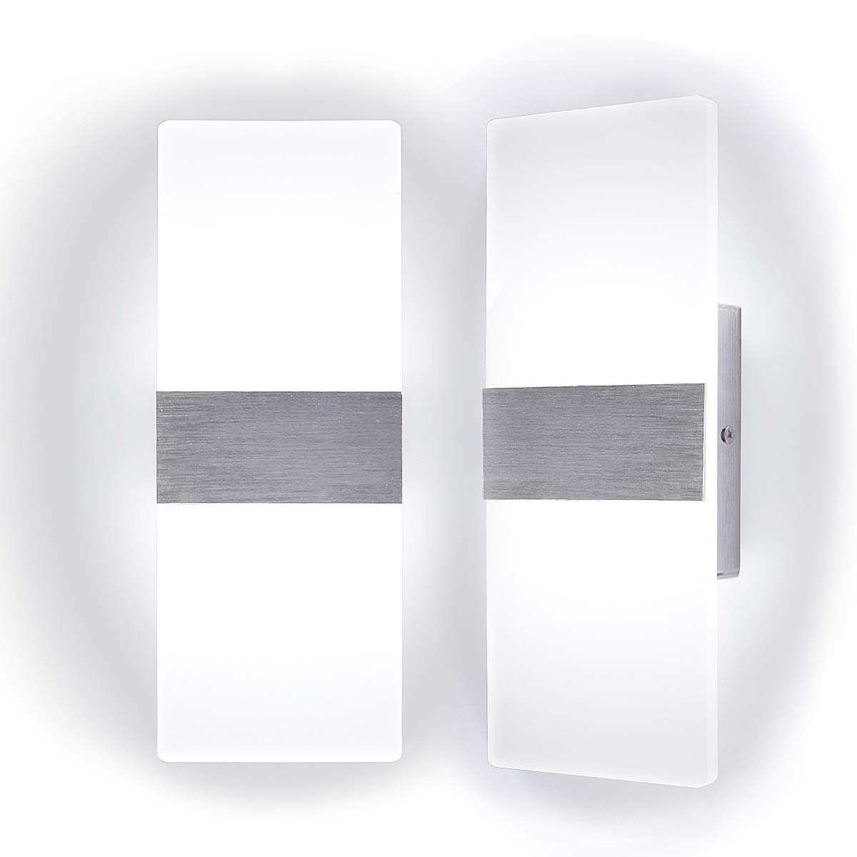 """Kernorv Modern Wall Sconce, Set of 2 Led Wall Sconces Light Modern and Fashion Cool White Led Wall Light for Bedroom Living Room Balcony Porch Office Hotel and Hallway 11.4"""" x 4.3"""" (12W, 6000K)"""