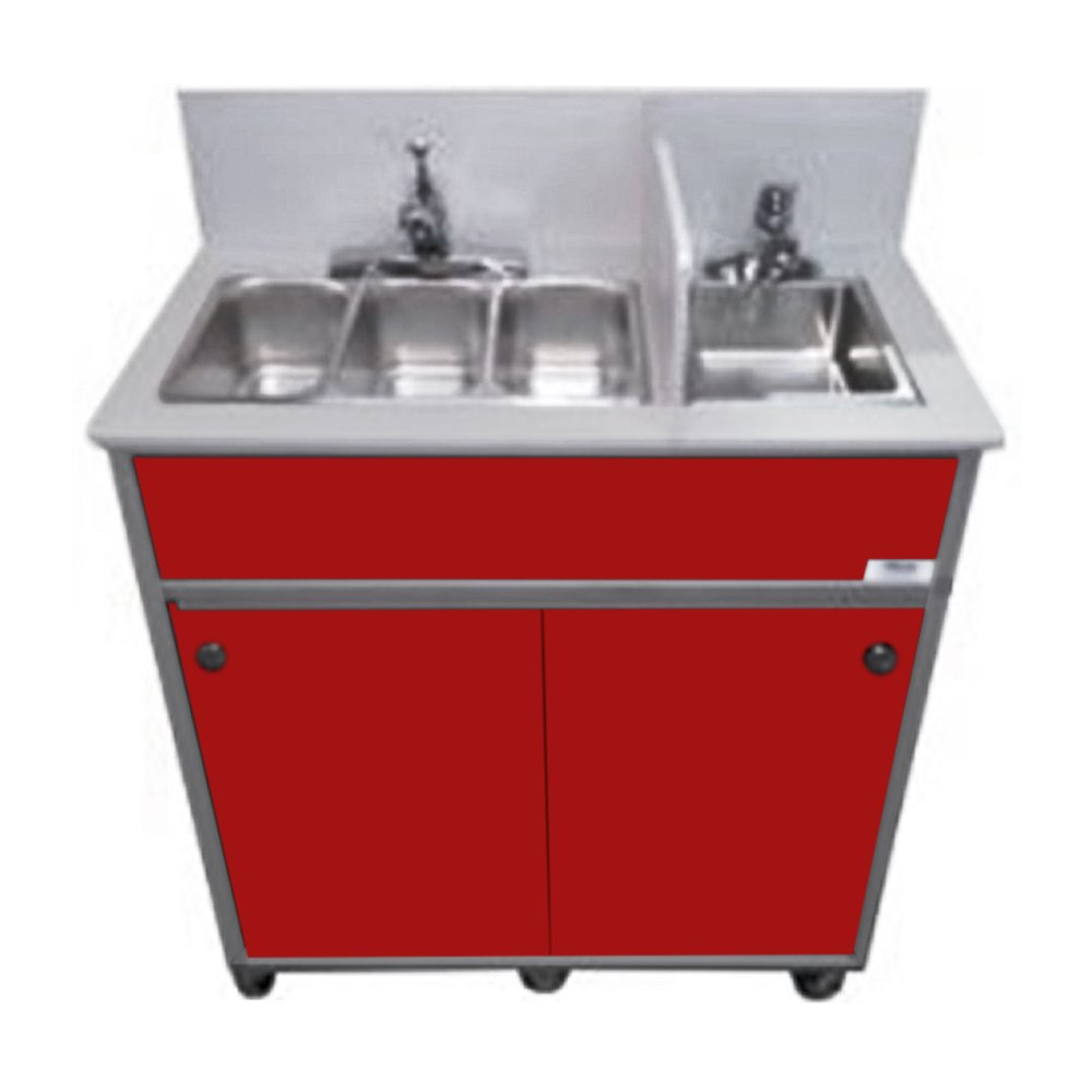 Monsam NS-004S NSF Certified Four Compact Basins Portable Sink, Red