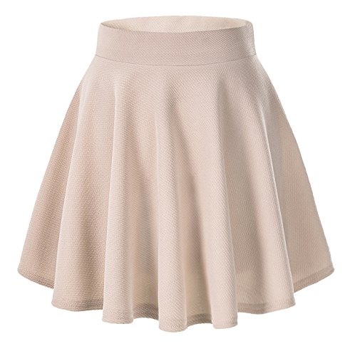 Skirt Womens Beige (Coreal Women Basic Stretchy Flared Swing Casual Solid Mini Skater Skirt Beige Medium)