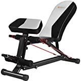egymcom Utility Incline/Flat/Decline Adjustable Dumbell Bench, Sit-up Slant Board/Abdominal Weight Bench with Elastic Rope, 300 LB