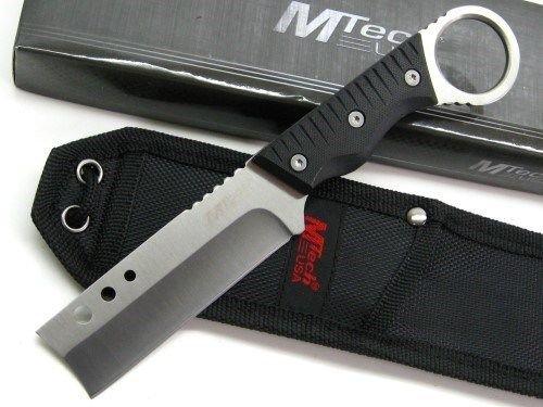 "MTECH Tactical Black G-10 Fixed 8"" Straight RAZOR Blade NECK"