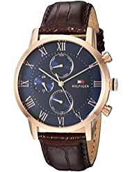 Tommy Hilfiger Mens SOPHISTICATED SPORT Quartz Gold and Leather Casual Watch, Color:Brown (Model: 1791399)