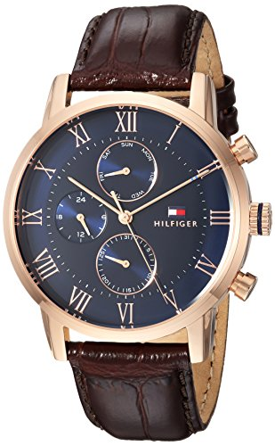 - 51ziYS6Lu3L - Tommy Hilfiger Men s Sophisticated Sport Quartz Gold and Leather Casual Watch Color Brown/Blue Dial Model 1791399
