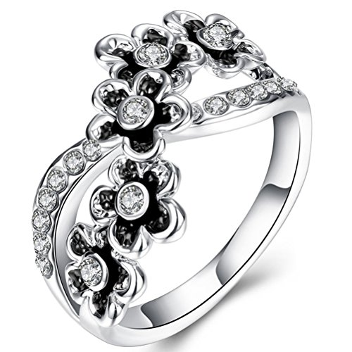 FENDINA Statement Rings Vintage Women 0.48 Carat CZ Diamond Infinity Anniversary Engagement Band Rings 18K White Gold Plated Flower Wedding Eternity Love Ring