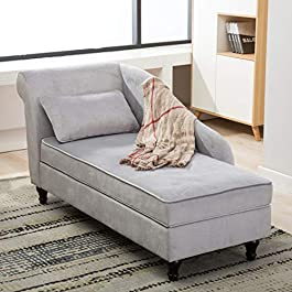 Chaise Lounge Storage Ottoman Upholstered Sofa Cou...