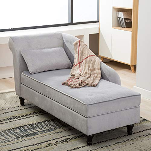 Chaise Lounge Storage Upholstered Sofa Couch for Living Room Bedroom Gray (Storage Chairs Bedroom)