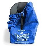 Emmzoe Premium Car Seat Airport Gate Check Travel Storage Bag Features Durable Nylon, Foldable Pouch, Hand/Shoulder Strap (Blue)
