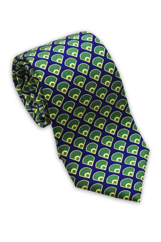 Diamond Patterned Silk Tie - Josh Bach Men's Baseball Diamonds Silk Necktie Blue-Green, Made in USA