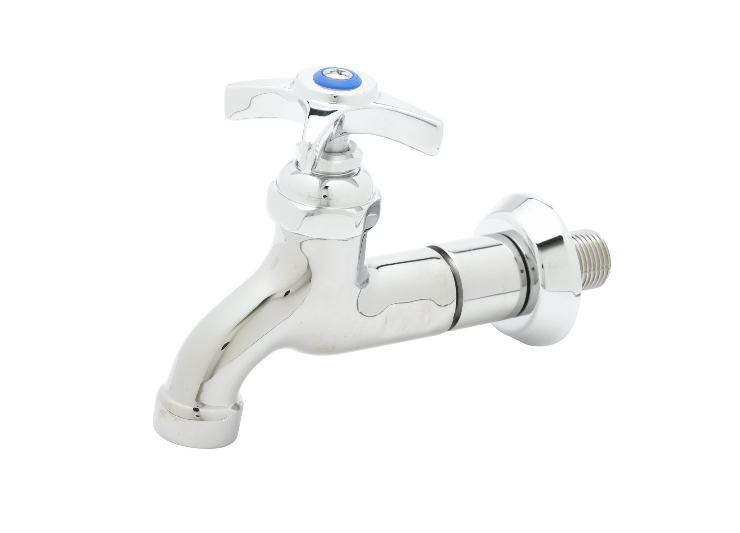T&S Brass B-0718 Sill Faucet, 1/2-Inch Npt Male Inlet, 4-Arm Handle, Adjustable Flange, 3/4-Inch Garden Hose Thread