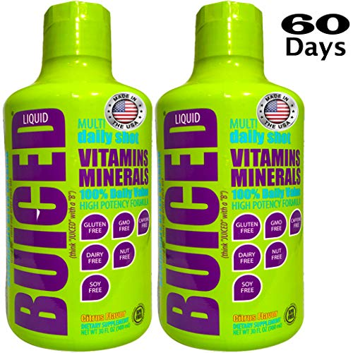 BUICED Liquid Daily Multivitamin 60 Day Supply | Gluten Free | GMO Free | Allergen Free | Soy Free | BPA Free | Paleo Friendly Multivitamin | Vegan Friendly Multivitamin | 100% Daily Value (Big Green Egg Angeles Los)