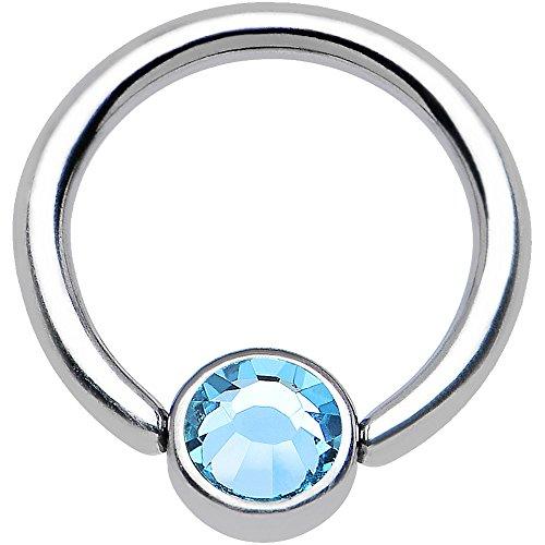 Solid Titanium Captive Ring (Brilliant Blue Solid Titanium BCR Captive Ring 4mm Flat Disc 16 Gauge 5/16