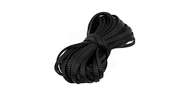 Nylon Mesh Rigging Conduit Flex Braided Expandable Sleeving 9.3M Long 4mm Wide Black by Uptell