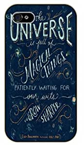 iPhone 4 / 4s Bible Verse - The universe is full of magic things. Patiently waiting. Eden Phillpotts - black plastic case / Verses, Inspirational and Motivational