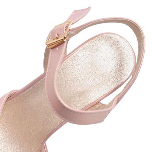 VECJUNIA Womens Criss Cross Platform Peep Toe Ankle Strap Slingback Chunky High Heel Party Shoes Pink cRAYEOt