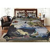 3pc Outdoor Adventure Theme Quilt Queen Set, Bears Moose Elk Rams Eagles Wild Animal Lodge Cabin Hunting Themed Pattern, Waterfall Water Mountain Top Wilderness Nature Flower Forest Tree Bedding