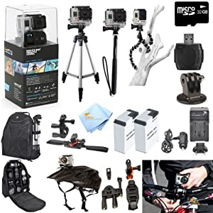 GoPro Hero3+ Black Edition ATV/Bike/Helmet Kit: Kit Includes Pro Series All In 1 ATV/Bike Kit + 50' Tripod + 27' Monopod + Gripster + 32GB Micro SD Card + Mount Adapter + 2 Extended Batteries with Charger + Deluxe Camera Backpack and a Global Distributions Cleaning Cloth (Helmet Not Included)
