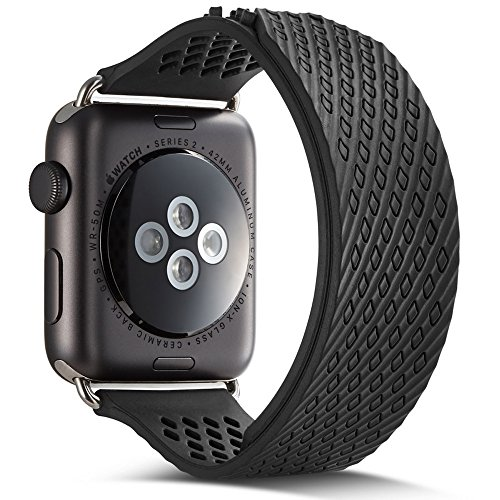 Apple Watch Band, Camyse iWatch Band Strap Premium Soft Silicone Replacement band for Apple Watch Series 2, Series 1, Sport, Edition - Black
