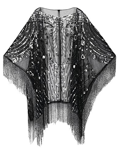 PrettyGuide Women's 1920s Shawl Beaded Evening Wrap Open Front Fringed Cape Black ()