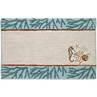 Avanti Linens 13827JMUL Seaside Vintage Bath Rug, Ivory with Blue Accents with Embroidery, 20 x 30