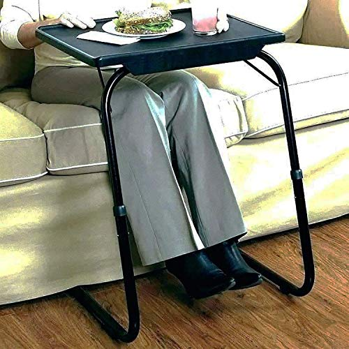 Gold Glass Foldable and Adjustable Multi Purpose Utility Table for Laptop, Dinner, Study (Black_Plain_in)
