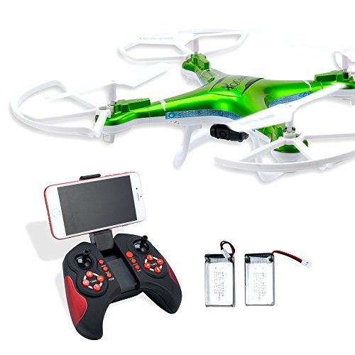 QCopter Drone Quadcopter w/HD FPV Wifi Camera BONUS Drones Battery and Crash Kit Included; Green
