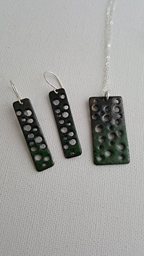 Green Black Copper Enamel Necklace and Earring Set with Sterling Accents by LGBStyles Jewelry